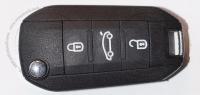 Выкидной ключ зажигания для Peugeot (Пежо) с 3-мя кнопками, без ДУ, без чипа, с лезвием HU83