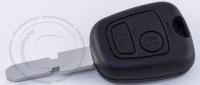 Чип-ключ зажигания Peugeot (Пежо) с 2-мя кнопками, чипом ID46, лезвием NE78 и ДУ 433 Mhz.