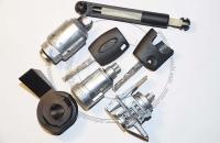Комплект личинок Ford Focus 2 / Форд Фокус 2: замок зажигания, замок левой двери, замок крышки капота, 2 ключа зажигания.